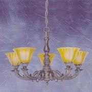 Toltec Lighting Olde Manor 5-Light Shaded Chandelier; Tiger Glass
