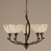 Toltec Lighting Bow 5 Light Up Shaded Chandelier w/ Glass Shade; Black Copper