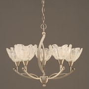Toltec Lighting Bow 5 Light Up Shaded Chandelier w/ Glass Shade; Brushed Nickel