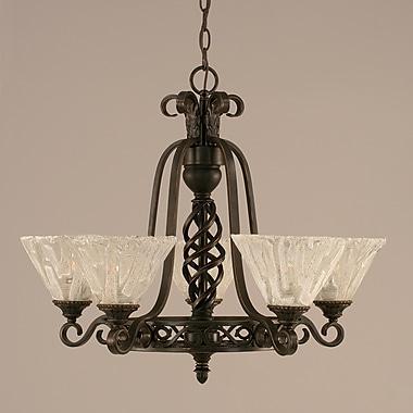 Toltec Lighting Elegant 5 Uplight Chandelier w/ Firr Saturn Glass; Italian Ice Glass