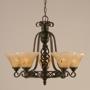 Toltec Lighting Elegant  5 Uplight Chandelier with Firr  Saturn Glass; Amber Crystal Glass