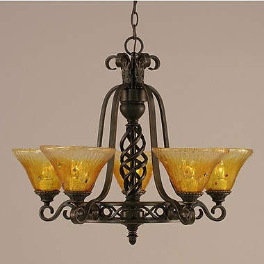 Toltec Lighting Elegant 5-Light Shaded Chandelier; Gold Champagne Crystal Glass