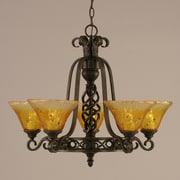 Toltec Lighting Elegant  5 Uplight Chandelier with Firr  Saturn Glass; Gold Champagne Crystal Glass