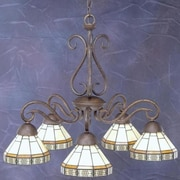 Toltec Lighting Olde Iron 5 Light  Chandelier with Mission Glass Shade; Mission Glass