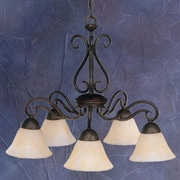 Toltec Lighting Olde Iron 5 Light  Chandelier with Mission Glass Shade; Amber Marble Glass