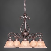 Toltec Lighting Olde Iron 5 Light  Chandelier with Mission Glass Shade; Italian Marble Glass