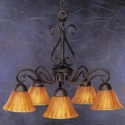 Toltec Lighting Olde Iron 5 Light  Chandelier with Mission Glass Shade; Tiger Glass