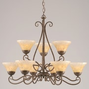 Toltec Lighting Olde Iron 9 Light  Chandelier with Crystal Glass Shade; Amber Crystal Glass