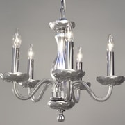 Classic Lighting Monaco 5 Light Crystal Chandelier; Silver Painted