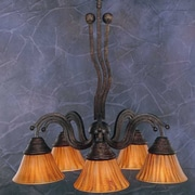 Toltec Lighting Wave 5 Light  Chandelier with Tiger Glass Shade; Bronze