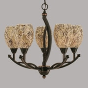 Toltec Lighting Bow 5 Light Chandelier; Natural