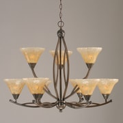 Toltec Lighting Bow 9-Light Shaded Chandelier