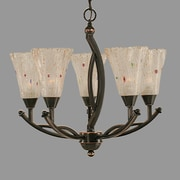 Toltec Lighting Bow 5-Light Shaded Chandelier; Frosted