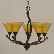 Toltec Lighting Bow 5 Light Chandelier; Gold Champagne