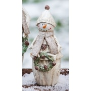 Evergreen Flag & Garden Hoiliday Frosty Snowman with Wreath Statuary