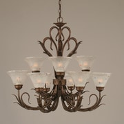 Toltec Lighting Swan 9-Light Shaded Chandelier