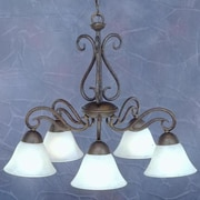 Toltec Lighting Olde Iron 5 Light  Chandelier with Mission Glass Shade; White Marble Glass