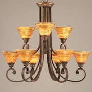 Toltec Lighting Curl 9-Light Shaded Chandelier