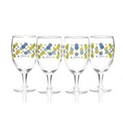 Fiesta Dot All Purpose Goblet (Set of 4); Lapis/Lemongrass/Turquoise/Sunflower