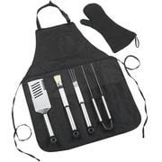 Picnic At Ascot BBQ Chef's 6 Piece Barbeque Apron & Tool Set; Black