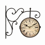 AdecoTrading Round ''Botanique'' Roman Numeral, Scroll Wall Hanging Clock