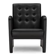 Wholesale Interiors Baxton Studio Jazz Faux Leather Upholstered Armchair; Black