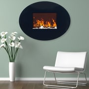 Northwest Black Oval Glass Electric Fireplace with Wall Mount