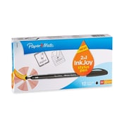 Paper Mate Ink Joy 100ST Ballpoint Pen With Touchscreen Stylus, 1.0 mm, Black Ink, 12/pk (1924319)