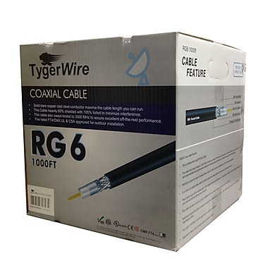 TygerWire 1000 Feet RG6 Coaxial Cable for Outdoor, 13