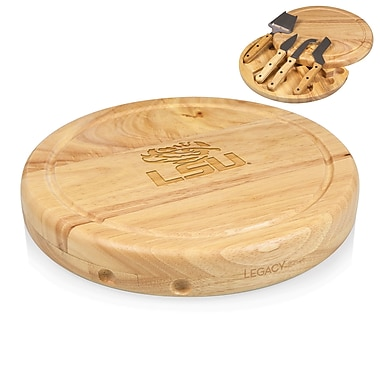 Picnic Time NCAA Circo Engraved Circulor Cutting Cheese Tray; LSU