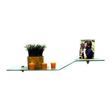 Spancraft Glass Sparrow Floating Glass 31.5'' W Bathroom Shelf; Brushed Steel