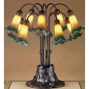 Meyda Tiffany Victorian Pond Lily 10 Light 22'' H Table Lamp with Bell Shade; Yellow and Green