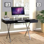InRoom Designs Computer Desk with 2 Drawers; Black