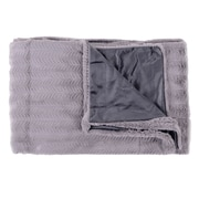 Sweet Home Collection Rib Decorative Reversible Faux Fur and Mink Throw Blanket; Silver