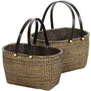 Oriental Furniture 2 Piece Rattan Open Storage Basket Set