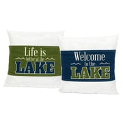 DEI Lake 2 Piece Sayings Wrap Cotton Throw Pillow Set (Set of 2)