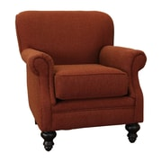 Summit Furnishings Charles Fabric Rolled Arm Chair; Red