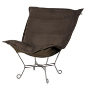 Howard Elliott Puff Scroll Lounge chair; Bella Chocolate Brown