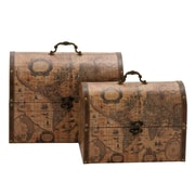 Woodland Imports 2 Piece Suitcase Style Faux Leather Box Set