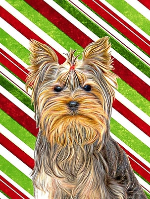 Carolineu0027s Treasures Candy Cane Holiday Christmas Yorkie/Yorkshire Terrier  2 Sided Garden Flag