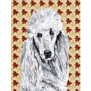 Caroline's Treasures White Standard Poodle Fall Leaves House Vertical Flag