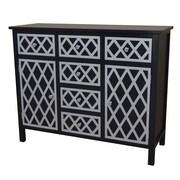 Gallerie Decor Trellis Cabinet 6 Drawer and 2 Door Chest; Black