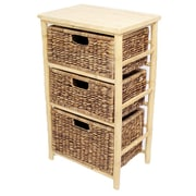 Heather Ann 3 Drawer Open Side Cabinet; Natural