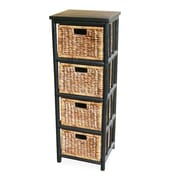 Heather Ann 4 Drawer Open Side Cabinet; Black
