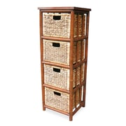 Heather Ann 4 Drawer Open Side Cabinet; Brown