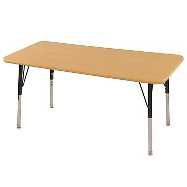 ECR4kids® – Table d'activités rectangulaire 30 po x 60 po, pieds de table standards et guides pivotants, érable/érable/noir