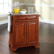 Crosley LaFayette Kitchen Cart with Stainless Steel Top; Classic Cherry