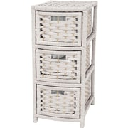 Oriental Furniture 3-Drawer Storage Chest; White