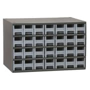 Akro Mils 19-Series Steel Cabinet with 28 Drawers; Gray