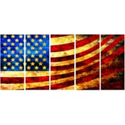 DesignArt God Bless America Flag 5 Piece Graphic Art on Gallery Wrapped Canvas Set